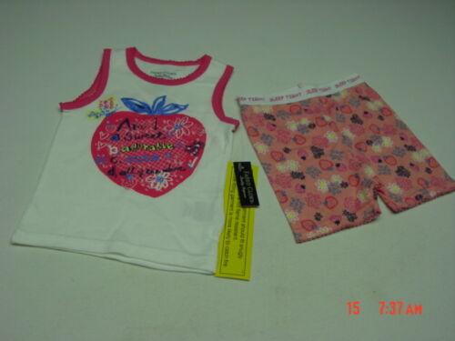 NWT Toddler Girls 2 piece Summer Pajama set White Pink Fruit Theme Glitter