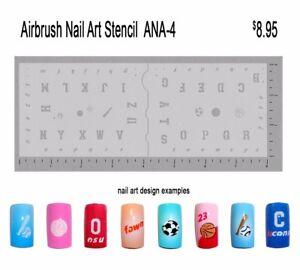 Nail-Art-Airbrush-Stencil-Varsity-Letters-ANA4-2-Stencil-Set