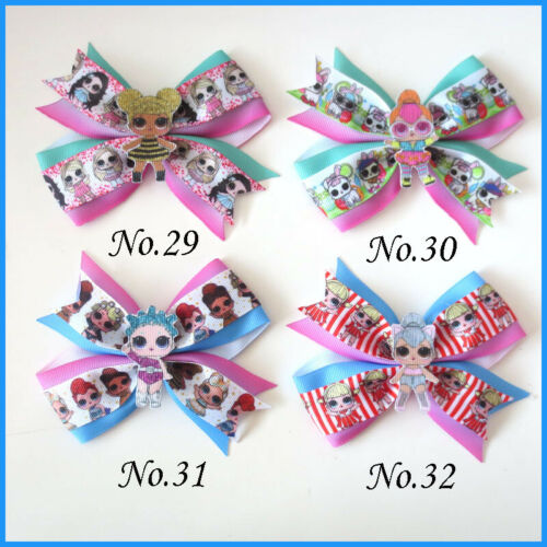 """50 BLESSING Girl 4.5/"""" Two Tone Wing Hair Bow Clip C L.O.L Doll Rainbow Baby"""
