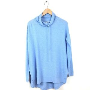 Kinross-Cashmere-Sweater-XS-Blue-Cotton-Cowl-Neck-Long-Sleeve-Oversized-Women-s