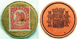 Spain-Guerra-civil-Sello-moneda-Republica-Espanola-30-Centimos-MBC-VF