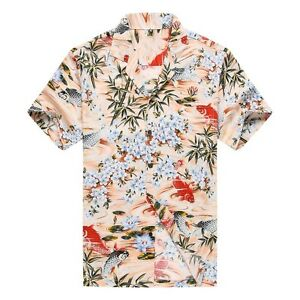 9f30bcbbca1 Made in Hawaii Men Aloha Hawaiian Shirt Red Black Fish Koi Floral in ...