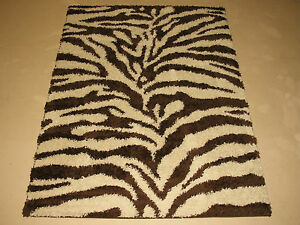 5x7 Plush Zebra Animal Skin Modern Shag Brown Chocolate