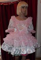 Unisex Short Adult Baby Dress Fancy Dress Sissy Lolita Cosplay Ruffle Dress