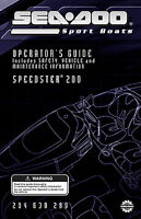 Sea-doo Speedster 200, 2004 Owners Manual Paperback Free Shipping