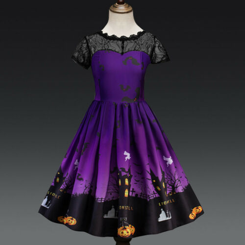Toddler Teen Kids Girls Halloween Lace Print Dress Outfit Party Costume Clothes