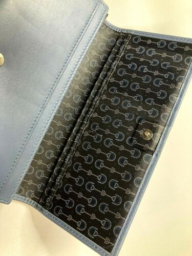 GUCCI VINTAGE OLD BLUE LEATHER HORSE BIT INSIDE PR
