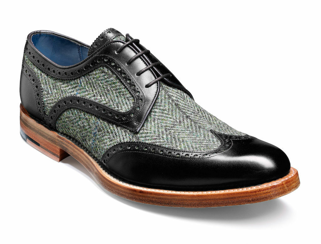 Handmade Oxford Bout D'Aile Cuir Tweed Chaussures Richelieu à Tuxedo Chaussures Formelles Chaussures