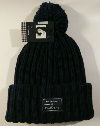 Ben Sherman Mens McCree Bobble Hat in Navy Blue One Size