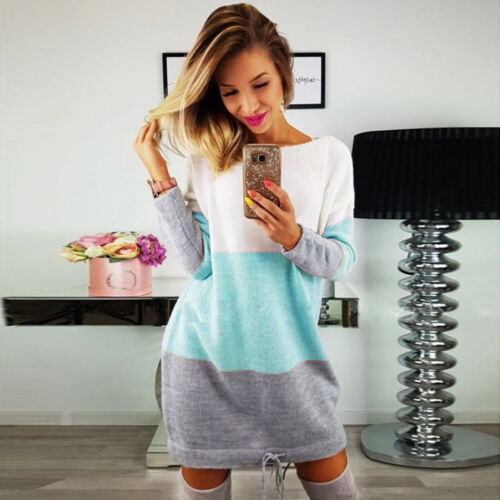 Womens Holiday Cute O Collar Knit Party Ladies Casual Dress Long Sleeve Dress