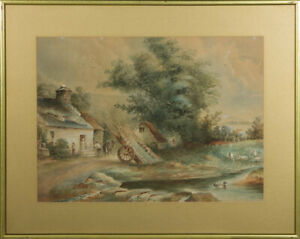 Early 20th Century Watercolour - Rural Scene with Figures and Horse Cart