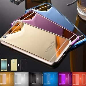 Front-Back-Mirror-Tempered-Glass-Metal-Bumper-Frame-Case-For-iPhone-X-8-7-6-Plus