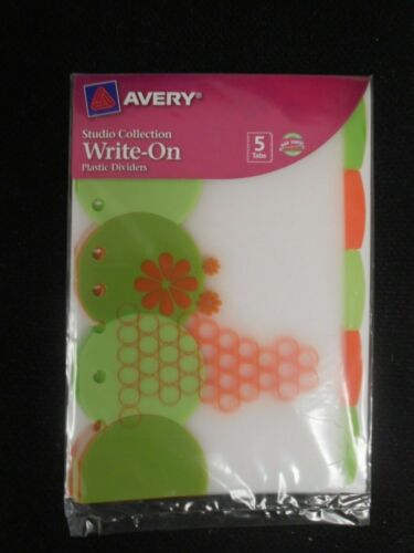 Avery Studio Collection Write-On Plastic Tab Dividers Retro Flower 5 tabs 16184