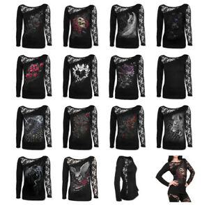 SPIRAL-DIRECT-Womens-Long-Sleeve-Lace-One-Shoulder-Dragon-Skull-Rose-Angel-Top