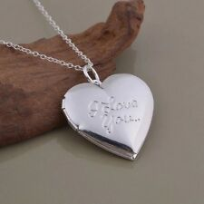 "925 Sterling Silver ""I Love You "" Words  Heart Photo Locket Pendant Necklace 18"""