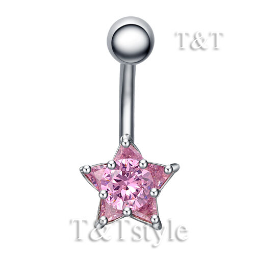 T/&T Pink CZ Star Belly Bar Ring BL20B
