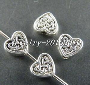 50pcs-Tibetan-Silver-Beautiful-Heart-Spacer-Beads-6x5-5x3mm-10035