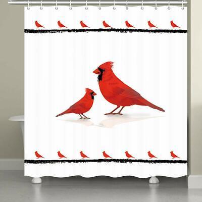 Cardinal Bird Bathroom Fabric Shower Curtain Northern American Animal Red Bird
