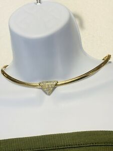 Mid 1900's Vintage Gold Tone Rhinestone Pendant Omega Link Necklace Set 18in