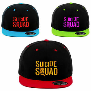 Squad black Suicide Black Design Embroidered Red And Sky Logo Lime Hat Snapback black UwwBqxnR4d