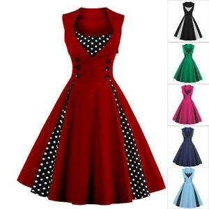 54521f9f7c Ladies Polka Dot Vintage 50s Retro Rockabilly Party Prom Swing Dress ...