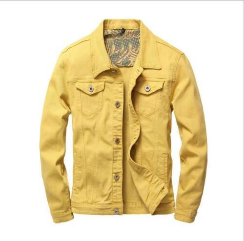 Solide Couleur Hommes Veste Manteau Fashion Printemps revers col Denim Taille Plus Neuf