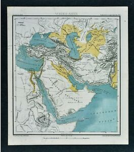 Details about 1875 Lange Map - Physical Middle East Arabia Turkey Iran Iraq  Aghanistan Mecca