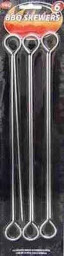 "METAL BBQ BARBEQUE SKEWER SKEWERS 6 PC PIECE 11 /"" New"