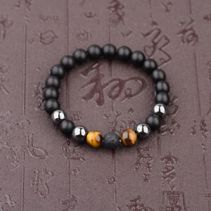 Charm-10mm-Black-Onyx-Lava-Hematite-Tigers-Eye-Gemstone-Men-039-s-Beaded-Bracelets
