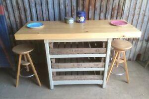 SALE Rustic Wooden Freestanding Kitchen Island Breakfast ...