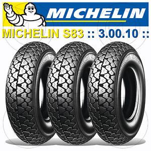 Kit 3 Michelin S 83 Pneus 3.00.10 Piaggio Vespa Pk 50 S Automatique (va51t) - Produits De Qualité Selon La Qualité