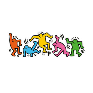 Adesivi Murali Keith Haring.Am635 Keith Haring Omini Colorati Arte Ebay