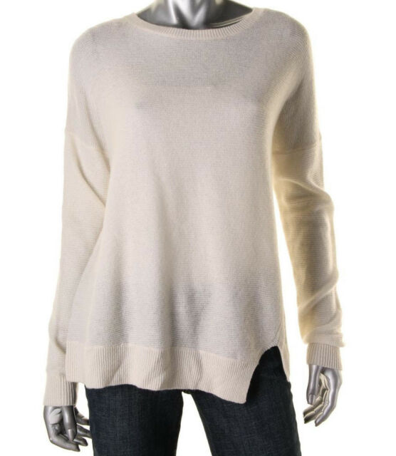 NEW Womens J Brand Cloud Cream Wool/Cashmere L/S Ribbed Trim Pullover Sweater S
