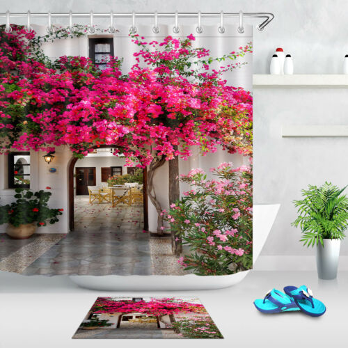 Blooming Pink Chinese Rose Archway Fabric Shower Curtain Waterproof Polyester