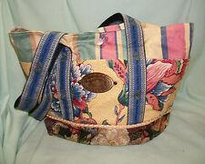 Retired MACKENZIE-CHILDS Pick a Pocket Floral & Stripes TOTE BAG PURSE