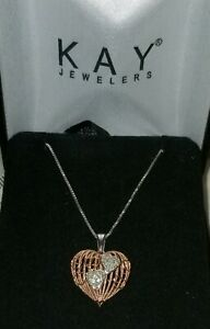 Kay Jewelers Sofia Vergara 10k Rose Gold Heart Diamond Sterling Pendant Necklace Ebay