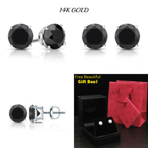 d7cfda4ccc057 Details about 1CT Black Diamond Stud Earrings Real 14K Solid White Gold  Screw Back ITALY NEW!