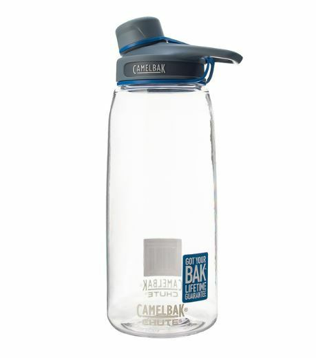 New Camelbak Chute Water Bottle 1L Clear Cap Stows In Handle Half Turn Cap