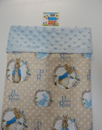 Peter Rabbit Baby Blanket Blue Bassinet Capsule Moses Basket Minkee Dot Back