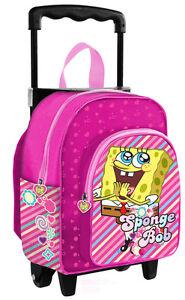 l'atteggiamento migliore bb822 537eb Dettagli su Mini Trolley Asilo Bimba Spongebob Rosa Scuola *00787 Nickeodeon