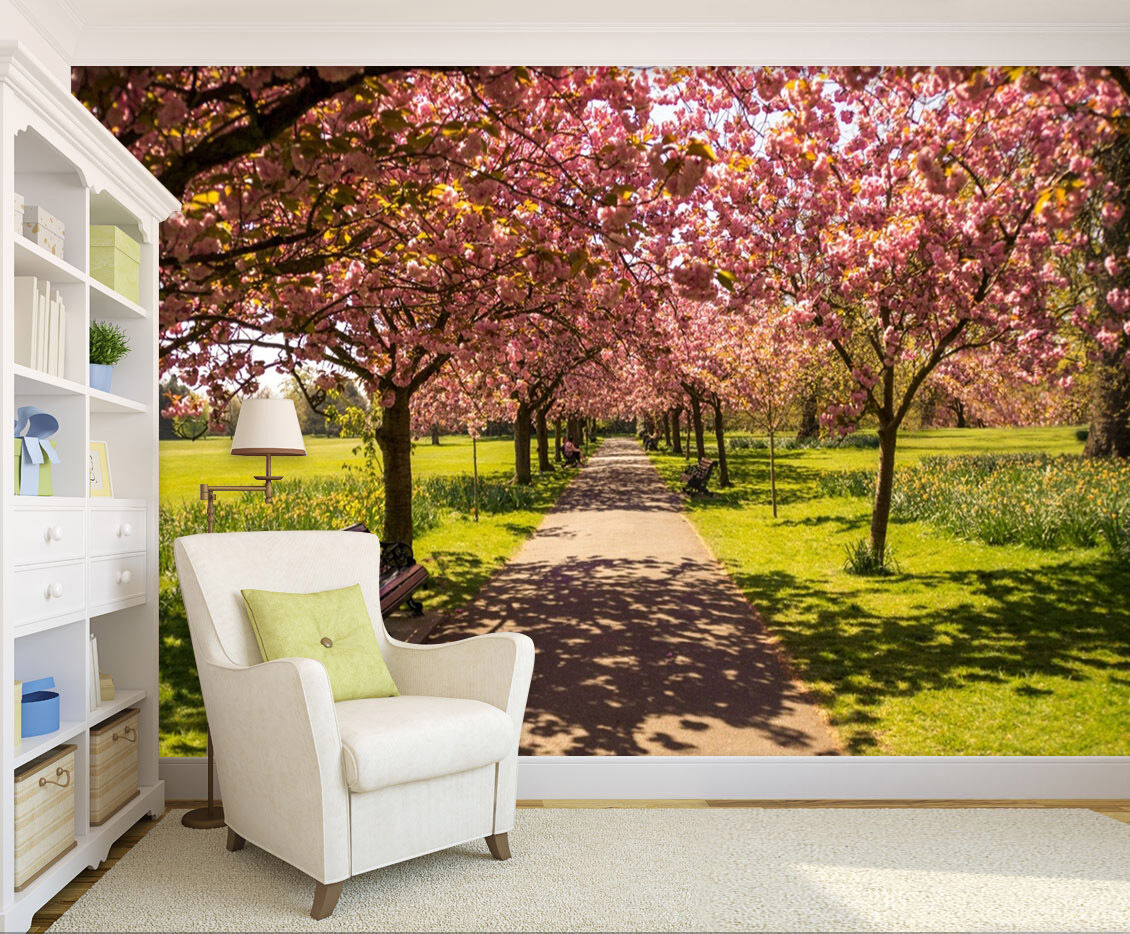 3D Park Flowering Trees 1253 Paper Wall Print Wall Decal Wall Deco Indoor Murals