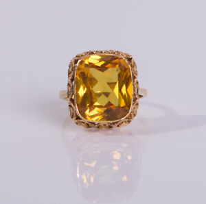 Huge-Vintage-18ct-Yellow-Gold-Synthetic-Fancy-Yellow-Sapphire-Ring-11cts