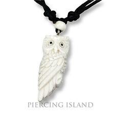 Weisse Eule Owl Amulett Anhänger Kette Halskette Bone Knochen PB344