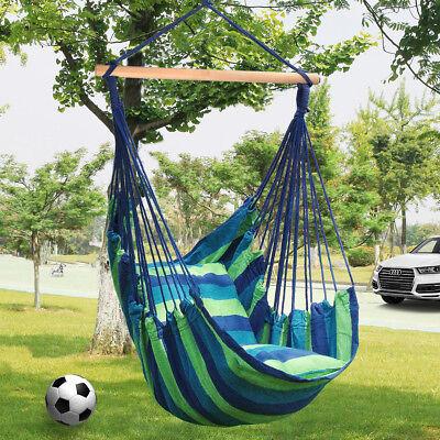 LIVINGbasic Swing Hanging Rope Hammock Chair Swing Seat + Storage Bag + 2-Pillow