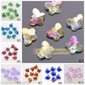 10pcs 14mm Glass Crystal Findings Faceted Charms Butterfly Loose Spacer Beads