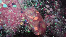 glitter mix acrylic gel nail art      ILLUMINATING stars glows in the dark