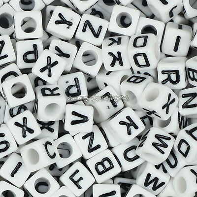 100 Acrylic Single Letter A-Z White Square Cube ALPHABET Spacer Beads 6x6mm SL66
