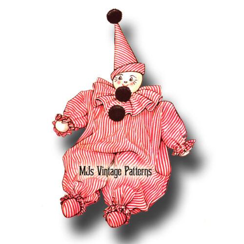 """Vintage 1940s Stuffed Clown Doll Toy Pattern ~ 17/"""" tall"""