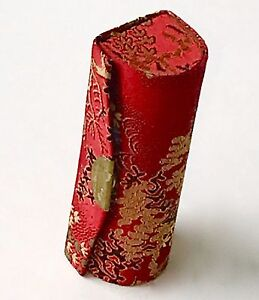 Exotic-lipstick-case-silverplate-snap-mirror-hard-shell-textured-red-gold-black