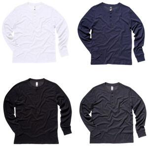 2d4d1eab New BELLA CANVAS Mens Slim Long Sleeve Henley Button Jersey Top 4 ...